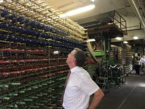 Tim Booth tours Langhorne Carpet Company