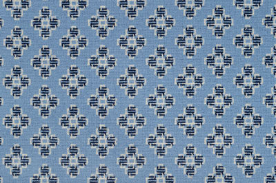 Image of Celtic Cross #31560 Carpet in 1052 Blue &  739 White on 7472 Blue